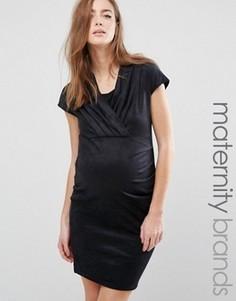 Платье для беременных с запахом на лифе Mamalicious - Черный Mama.Licious
