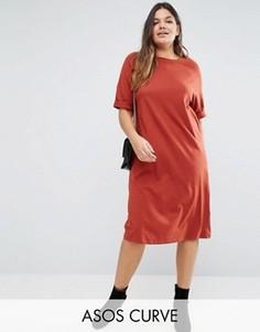 Хлопковое платье-футболка миди ASOS CURVE - Оранжевый