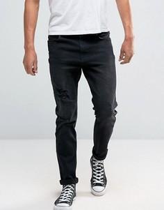 Серые джинсы скинни с рваной отделкой и нашивками Hoxton Denim - Серый