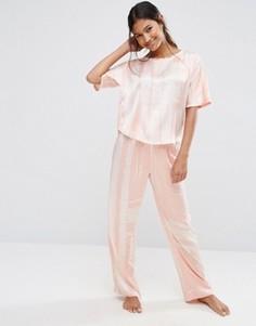 Атласные пижамные футболка и штаны в полоску ASOS - Мульти
