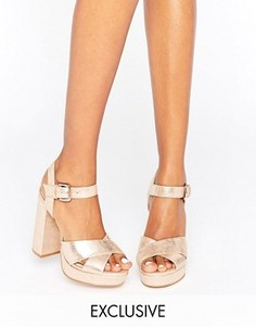 Кожаные сандалии на каблуке и платформе цвета розового золота Office Smile - Золотой