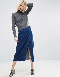 Темная джинсовая юбка миди с запахом ASOS - Синий