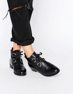 Кожаные ботинки со шнуровкой ASOS ANDREA - Черный