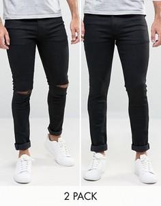 2 супероблегающих джинсов скинни (черные/черные с рваными коленками) ASOS - СКИДКА - Черный