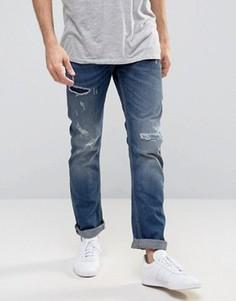 Прямые джинсы с потертостями Celio - Синий