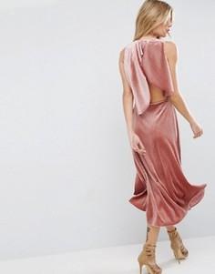 Бархатное платье миди с открытой спиной и отделкой металлик ASOS - Розовый