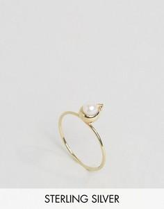 Серебряное позолоченное кольцо с камнем для родившихся в июне ASOS - Кремовый