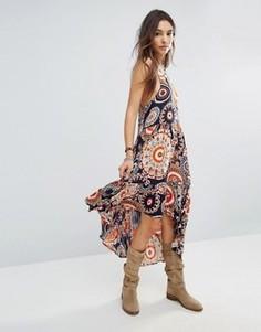 Платье с принтом и асимметричным подолом Raga - Оранжевый