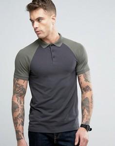 Черно-зеленая футболка-поло с контрастными рукавами реглан ASOS - Мульти