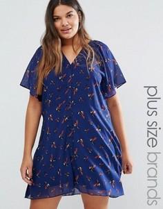 Чайное платье с принтом птиц Yumi Plus - Темно-синий