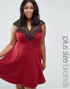Короткое приталенное платье с кружевом AX Paris Plus - Красный