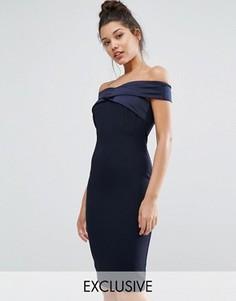Платье-футляр с открытыми плечами и атласной отделкой Vesper - Темно-синий
