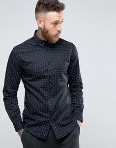 Рубашка слим с принтом Selected Homme - Черный