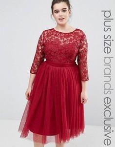 Платье миди с кружевным топом и юбкой из тюли Little Mistress Plus - Красный