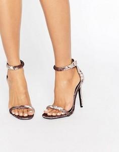 Бархатные босоножки на каблуке Missguided - Серый