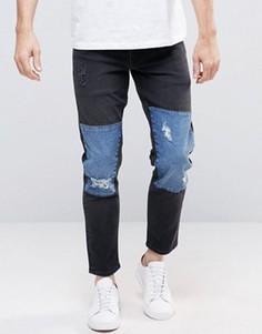 Черные узкие укороченные джинсы стретч с синими вставками ASOS - Черный