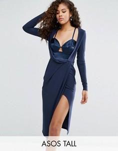 Платье миди из крепа с атласной вставкой и длинными рукавами ASOS TALL - Темно-синий