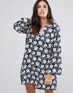 Платье с длинными рукавами и цветочным принтом Madame Rage - Темно-синий