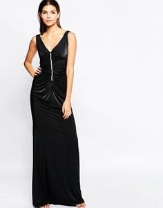 Платье макси с присборенной отделкой и стразами City Goddess - Черный