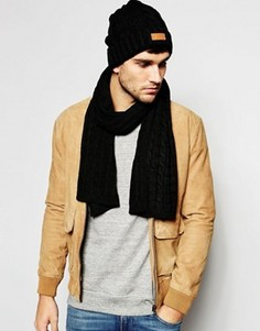 Шапка-бини и шарф с косами 7X - Черный