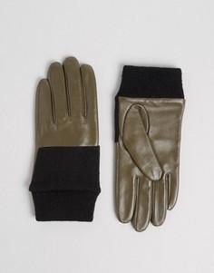Кожаные перчатки с вязаной отделкой ASOS - Зеленый