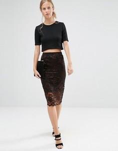 Черная кружевная юбка с фигурным низом Ganni - Мульти