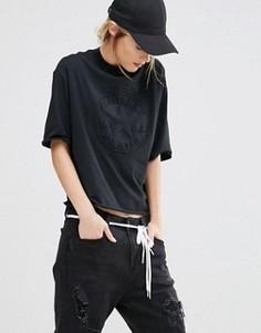 Черная футболка с тисненым логотипом и высоким воротом Converse - Черный