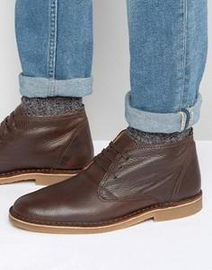 Кожаные утепленные ботинки Selected Homme New Royce - Коричневый