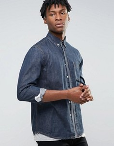 Джинсовая рубашка цвета индиго Hoxton Denim - Темно-синий