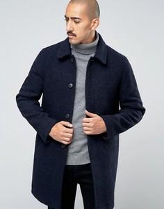 Темно-синее пальто из ткани букле с высоким содержанием шерсти Stanley Adams - Темно-синий