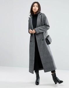 Пальто бойфренда в клетку ASOS - Черный
