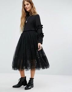 Многослойная кружевная юбка Navy London - Черный