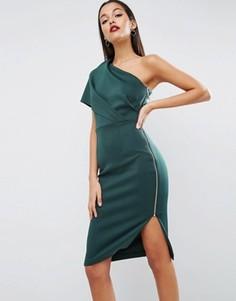Платье миди на одно плечо с глубокими складками и открытой молнией ASOS - Зеленый