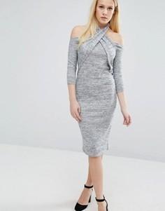 Платье с халтером и длинными рукавами Lost Ink - Серый