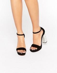 Замшевые сандалии на каблуке и платформе Dune Mercurie - Черный