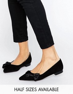 Балетки с острым носком и бантиком ASOS LOUISE - Черный