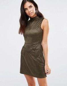 Платье с высоким воротом и карманами Love & Other Things - Зеленый
