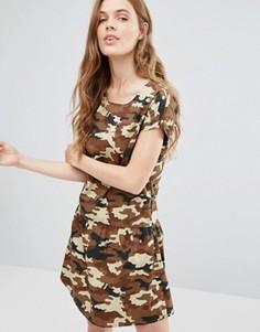 Чайное платье с камуфляжным принтом Noisy May Carlos - Коричневый