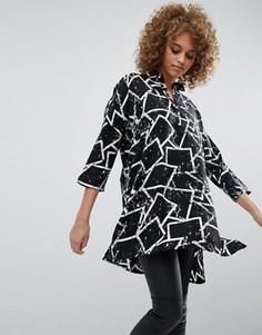Платье-рубашка с принтом в стиле граффити Noisy May Sandra - Черный