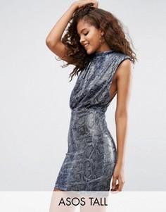 Платье мини с заниженными проймами и звериным принтом ASOS TALL - Мульти