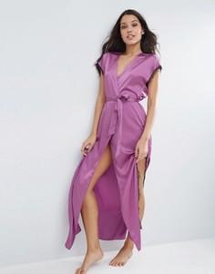 Атласный халат макси с запахом и кружевом ASOS - Фиолетовый