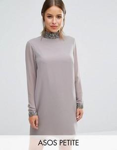 Цельнокройное платье с отделкой пайетками на горловине ASOS PETITE - Серый
