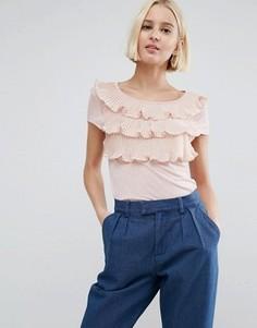 Ярусная рубашка с короткими рукавами и оборками спереди Vero Moda - Розовый