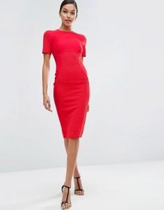 Облегающее платье миди в рубчик ASOS - Красный
