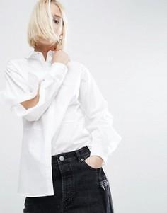 Хлопковая рубашка с разрезами на рукавах и оборками ASOS - Белый