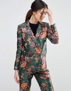 Жаккардовый блейзер в винтажном стиле с цветочным узором ASOS - Мульти