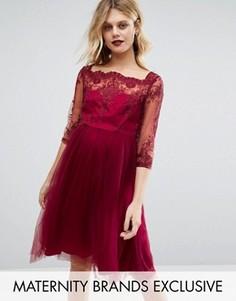 Платье-премиум для беременных с вышивкой и юбкой из тюля Chi Chi London Maternity - Красный