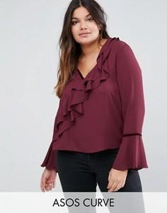 Блузка с оборками и бархатной отделкой ASOS CURVE - Красный