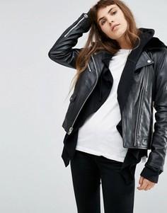 Кожаная куртка с искусственным мехом на воротнике Goosecraft - Черный
