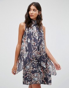 Платье с открытыми плечами и цветочным принтом Pepe Jeans Candice - Темно-синий